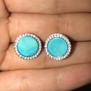 Sterling Silver Turquoise and Diamond earrings